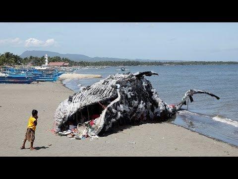 هشدار درباره زباله های پلاستیکی با ساخت مجسمه نهنگ مرده در فیلیپین