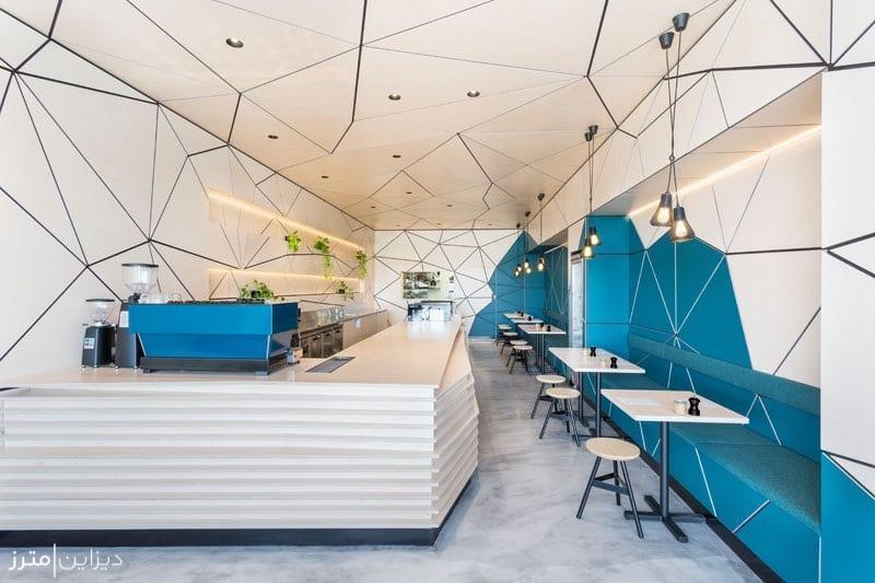 طراحی دکوراسیون داخلی هندسی یک کافه
